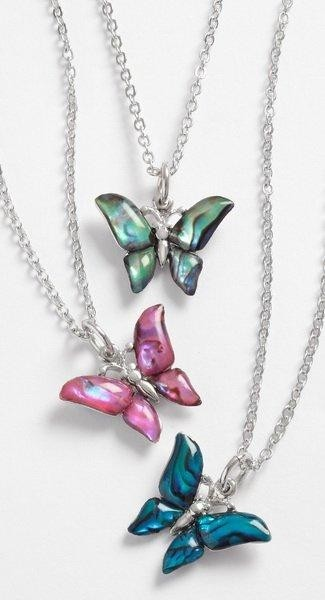 Butterfly Pendant on Metal Chain Necklace