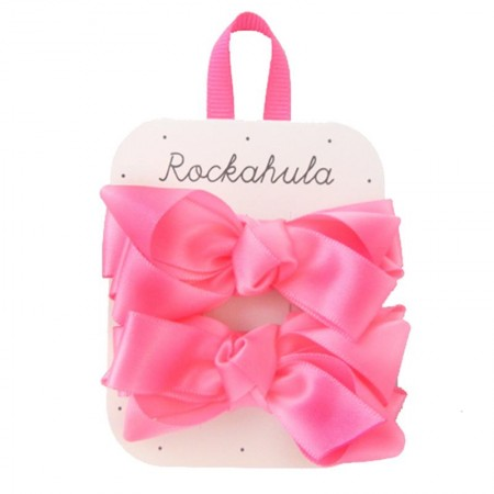 Hot Pink Ruffle Satin Ribbon Bow Clips - Rockahula