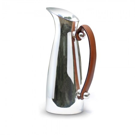 Culinary Concepts Leather Handled Silver Water Pitcher