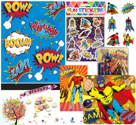 Superhero pre filled party bag - contents