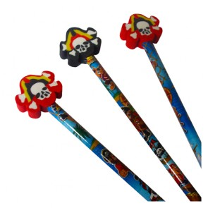 Pirate Pencil with Skull and Cross Bones Rubber