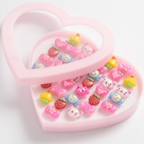 Heart Shaped Box Of 36 Plastic Adjustable Children's Rings