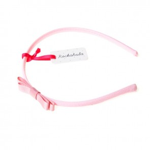 Dusky Pink Mini Ribbon Bow Alice Band - Rockahula