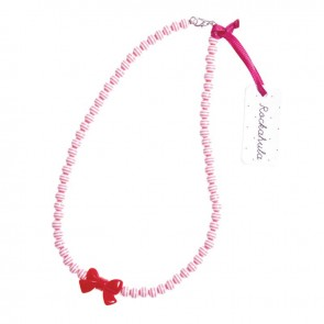 Pink Stripy Bead & Bow Necklace - Rockahula