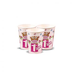 Little Owl Girl 1st Birthday Party Cups