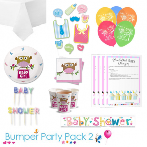 Little Owl Girl Baby Shower Party Tableware Bumper Pack 2