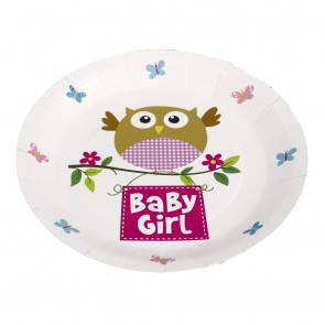 Little Owl Baby Girl Party Plates