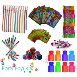 Party Bag Kit for Girls and Boys (Unisex) Option 1 - Multi-Coloured Stripe Bag