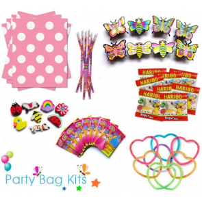 Party Bag Kit for Girls Option 2 - Pink and White Polkadot Bag