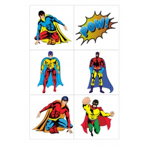 Set of 6 Superhero Tattoos