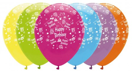 Happy Birthday Printed Latex Balloons