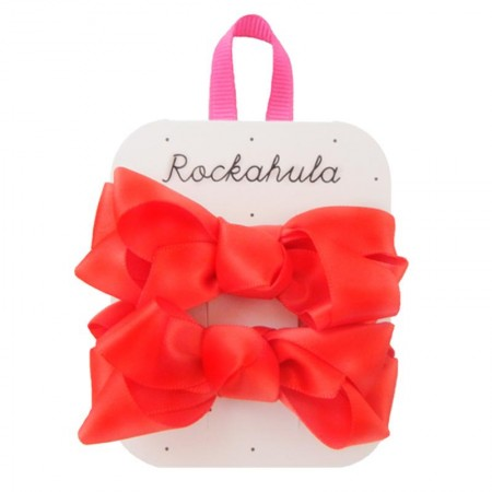 Red Ruffle Satin Ribbon Bow Clips - Rockahula