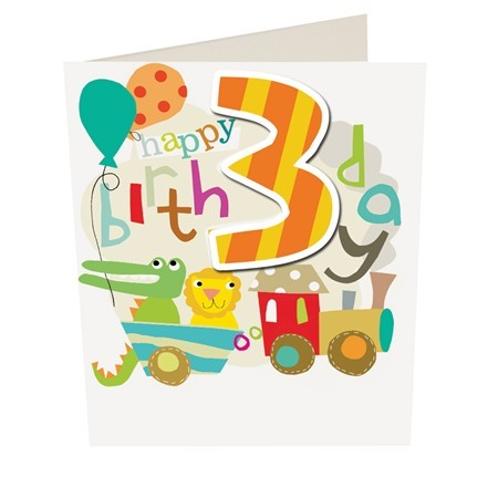 Caroline Gardner Happy Birthday Boy Age 3 Birthday Card