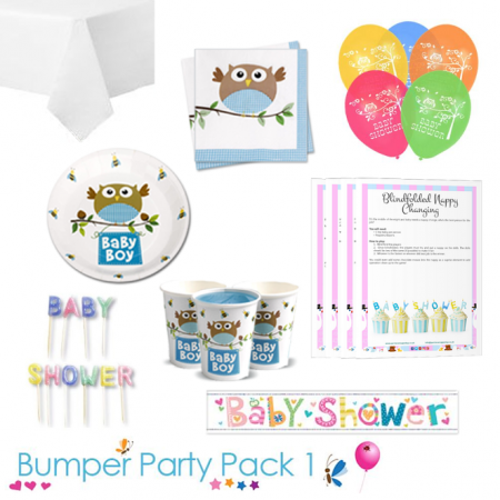Little Owl Boy Baby Shower Party Tableware Bumper Pack 1