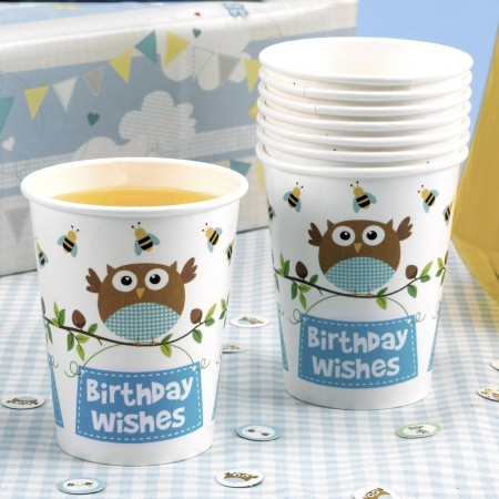 Little Owl Boy Birthday Wishes Party Cups