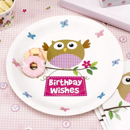 Little Owl Girl Birthday Wishes Party Plates