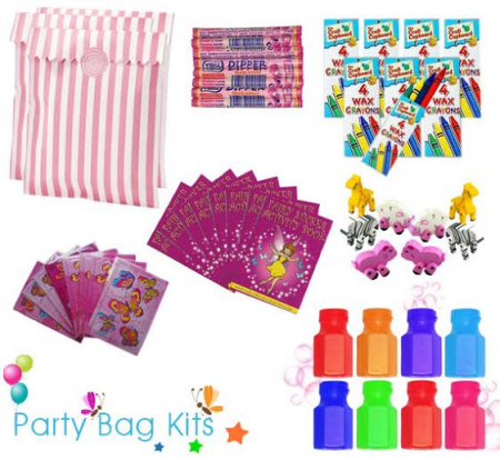 Party Bag Kit for Girls Option 1 - Pink and White Stripe Bag