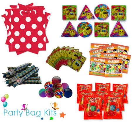 Party Bag Kit for Girls and Boys (Unisex) Option 2 - Red and White Polkadot Bag