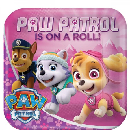 Girls Pink Paw Patrol Party Plate