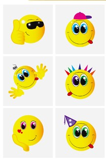 Set of 6 Smiley Face Tattoos