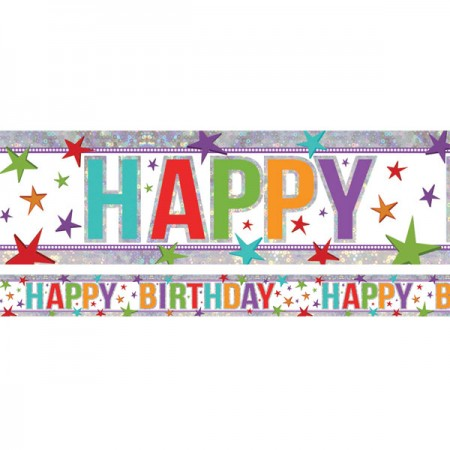 Holographic Multi-Coloured HAPPY BIRTHDAY Unisex Foil Banner