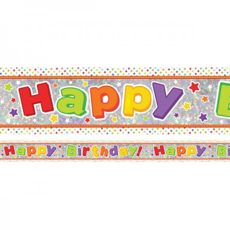 Holographic Multi-Coloured Happy Birthday! Unisex Foil Banner