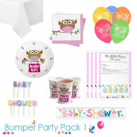Little Owl Girl Baby Shower Party Tableware Bumper Pack 1