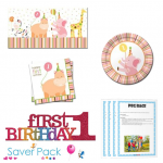 Sweet at 1 Girl 1st Birthday Party Tableware Saver Pack