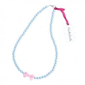 Blue Stripy Bead & Bow Necklace - Rockahula