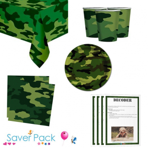 Army Camouflage party tableware saver pack for 8 or 16 guests