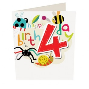 Caroline Gardner Happy Birthday Boy Age 4 Birthday Card