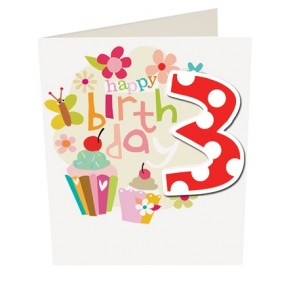Caroline Gardner Happy Birthday Girl Age 3 Birthday Card