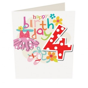 Caroline Gardner Happy Birthday Girl Age 4 Birthday Card