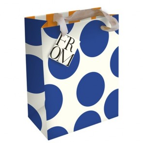 Caroline Gardner Large Blue Spot Medium Gift Bag