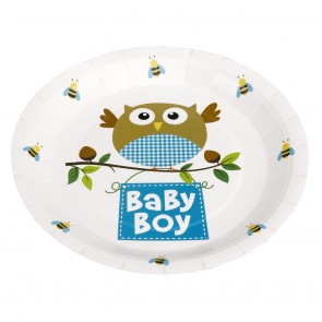 Little Owl Baby Boy Party Plates