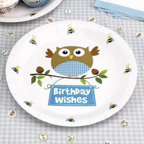 Little Owl Boy Birthday Wishes Party Plates