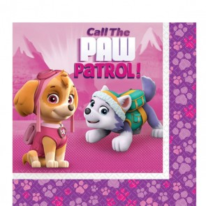 Girls Pink Paw Patrol Party Napkins