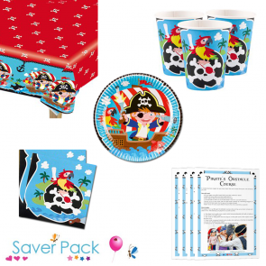 Captain Pirate Party Tableware Saver Pack for 8, 16, 24 or 32 guests