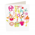 Caroline Gardner Happy Birthday Owl Flamingo Party Girl Card