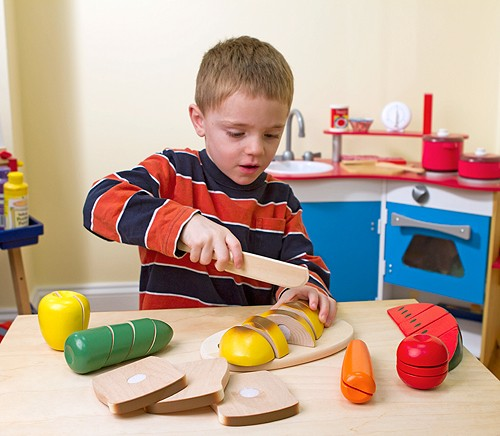wooden play food cutting box