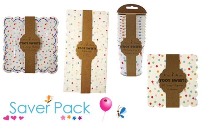 Toot sweet spotty party tableware saver pack